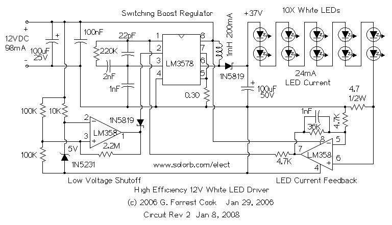 optoelectronic circuits led circuits high power led driver accepts wide input voltage range circuit based on a buck boost converter controller regulates current to a white led