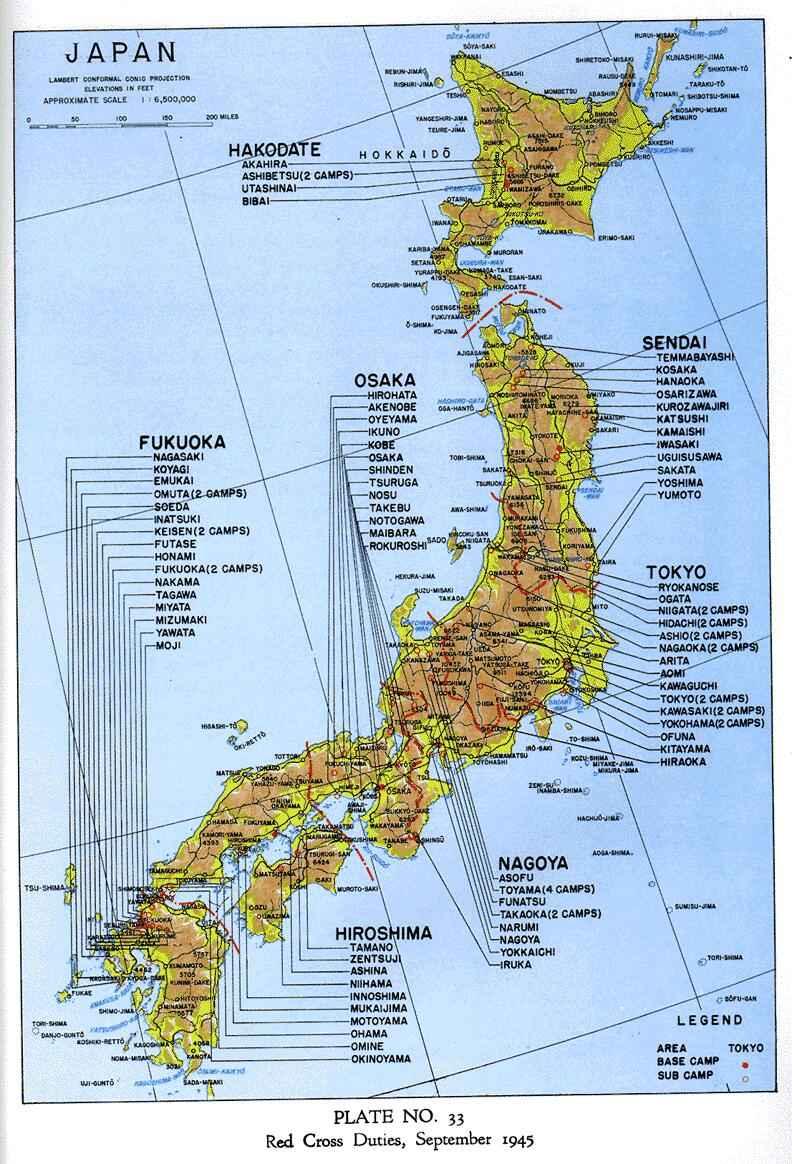 Concentration Camps POW Camps - Japan map legend
