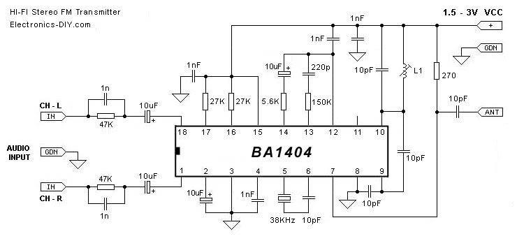 fm circuits fm wireless transmitters fm stereo transmiter ba1404